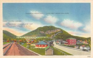PINNACLE MOUNTAIN-Three States Corner    Cumberland Gap     c1940's Postcard