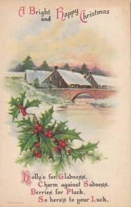 A Bright and Happy Christmas Poem, Holly, Snow-covered houses, Bridge, 00-10s