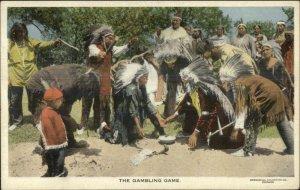 Native American Indians Gambling Game c1915 Postcard