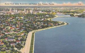 Florida Tampa Aerial View Along Boulevard And Tampl Bay 1958