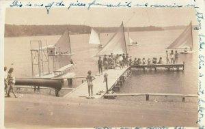 RP: STONY LAKE  , Michigan , 1942 ; Sailboats at pier