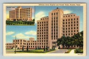 Houston TX-Texas, Jefferson Davis Hospital, Inset Nurses Home, Linen Postcard