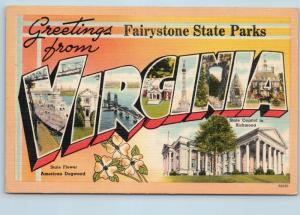 Postcard VA Large Letter Greetings Fairystone State Parks Vintage Linen O07