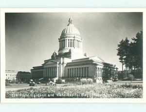 Pre-1950 rppc OLD CARS & FLOWER GARDENS AT STATE CAPITOL Olympia WA t2588