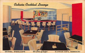 Cabana Cocktail Lounge, Hotel Phillips, Kansas City, MO, Early Postcard, Unused