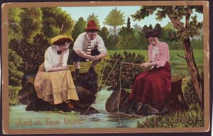 P1528 old unused postcard pretty ladies fishing just a few lines