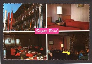 CA Sugar Bowl Ski Lodge Norden California Postcard Skiing Interior Room