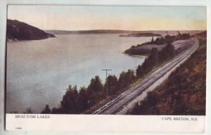 P948 old card view railroad bras D,or lakes cape breton nova scotia canada