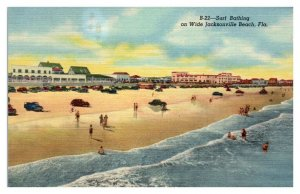 Surf Bathing on Wide Jacksonville Beach, FL Postcard *5N(2)17