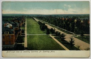Old UDB Postcard Birdseye View Infantry Quarters Ft. Snelling, MN Unused