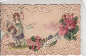 Vintage embossed papercut fantasy girl material knot doves flowers greetings pc