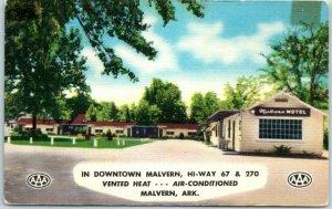 Malvern, Arkansas Postcard MALVERN MOTEL Highway 67 Roadside MWM Linen c1950s
