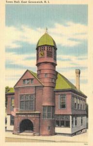 EAST GREENWICH, RI Rhode Island   TOWN HALL  c1940's Tichnor Linen Postcard