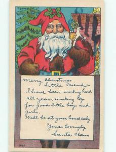 Pre-Linen Christmas SANTA CLAUS WITH NOTE AB4860