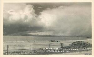 1940s View GREAT SALT LAKE UTAH US40 Highway RPPC Real Photo postcard 1929