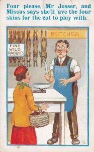 Wartime Butcher WW2 Bamforth Eating Cats Comic Humour Postcard