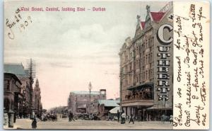 1909 Durban, South Africa Postcard West Street Central Looking East Hand-Colored