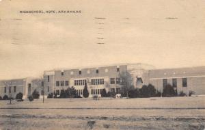 Hope Arkansas~High School~1939 Sepia Litho Postcard