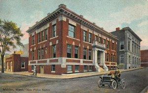 Malden MA New Police Station Old Car 1909 Postcard
