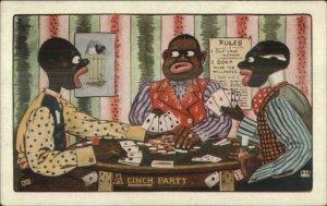 Black Americana A Cinch Party Men Gamble Play Poker C. Ryan c1910 Postcard