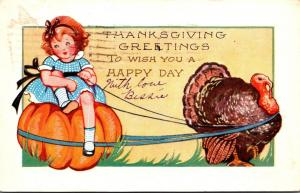Thanksgiving With Turkey and Young Girl Sitting On Pumpkin 1927