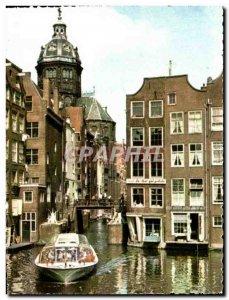 Postcard Modern Amsterdam Oudezijds Kolk in de oude stad The oldest canal in ...