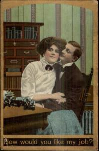 Boss Secretary Office Romance Typewriter Desks etc c1910 Postcard #20