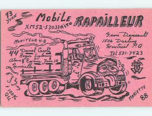 truck TRUCKING TEAMSTERS - QSL HAM RADIO CARD MONTREAL Quebec PQ Canada t1266