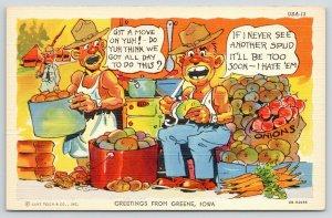 WWII Greetings From Greene Iowa~Soldier Peels Potatoes~Hates Spuds~1940s Linen