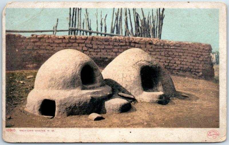 Vintage New Mexico Postcard MEXICAN OVENS Adobe Indian Detroit Pub 1900s