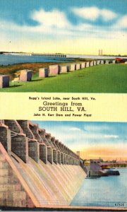 Virginia South Hill Greetings Showing John H Kerr Dam & Power Plant and Bugg&...