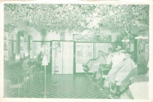 IVY DELUXE BARBER SHOP Santa Cruz, CA Interior View c1940s Vintage Postcard