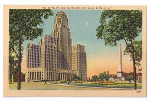 Buffalo NY New City Hall Vintage Linen Postcard Metrocraft