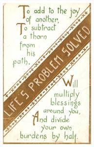 Life's problem Solved,   Poem