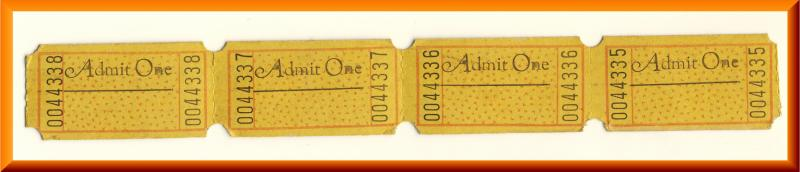 Vintage Movie Theatre Tickets, Admit One, Art Deco, 1950's?