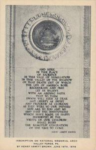 Inscription On National Memorial Arch, Valley Forge, Pennsylvania, 1878