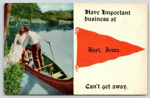 Have Important Business at Burt Iowa~Couple in Rowboat~c1910 Pennant Postcard