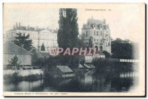 Old Postcard Chateau Raoul and view Prefecture Indre