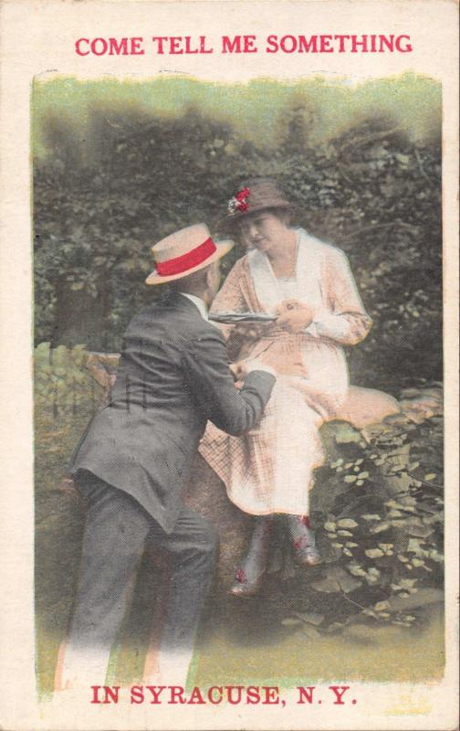 COME TELL ME SOMETHING IN SYRACUSE NEW YORK-BAMFORTH FAMOUS LOVERS POSTCARD 1920