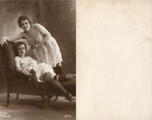 TWO GIRLS IN LINGERIE EROTIC ANTIQUE REAL PHOTO POSTCARD RPPC SEXY UNDERWEAR