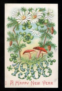 dc21 - NEW YEAR 1908 Embossed. Mushrooms. Canada Postmarks. FREE SHIPPING