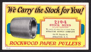 Syracuse Supply NY – Rockwood Paper Pulleys blotter