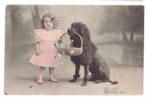 RPPC Girl Dog Tinted Real Photo 1906 Button Shoes Poodle