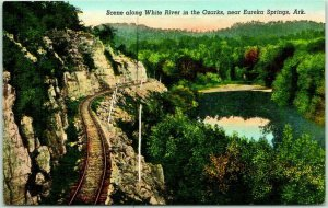 Eureka Springs, Arkansas Postcard Scene Along White River in the Ozarks LINEN