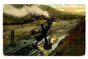 Panama - Canal Zone. Culebra Cut, Steam Shovels at Work
