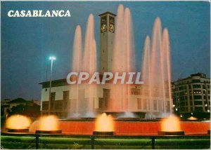 Postcard Modern Casablanca Fountain Light and Music Square United Nations