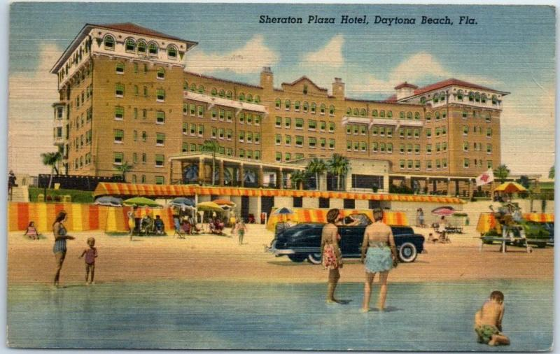 Daytona Beach Fl Postcard Sheraton Plaza Hotel View Linen 1951 Cancel