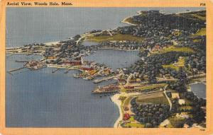 Woods Hole Massachusetts aerial view showing town linen antique pc ZA440621