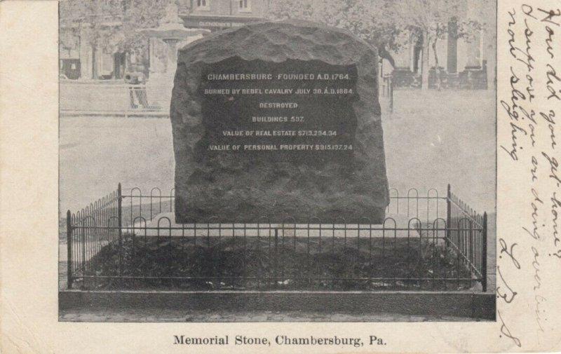 CHAMBERSBURG , Pennsylvania , 1907 ; Memorial Stone