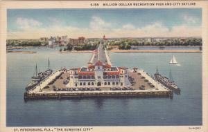 ST. PETERSBURG, Florida; Million Dollar Recreation Pier and City Skyline, Th...
